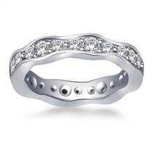 Wave Design Round Diamond Eternity Ring in 18K White Gold (0.88 - 0.99 cttw.) | B2C Jewels