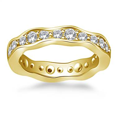 Wave Design Round Diamond Eternity Ring in 18K Yellow Gold (0.88 - 0.99 cttw.)