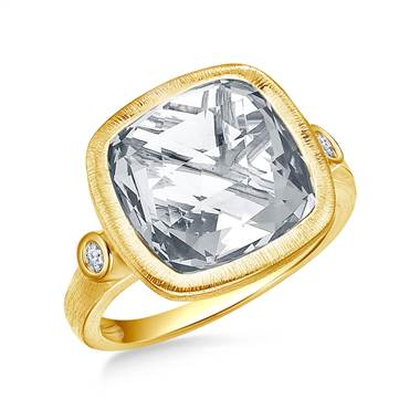 White Topaz Cushion Cut Gemstone and Diamond Bezel Ring in 14K Yellow Gold (12mm)