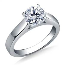 Wide Cathedral Solitaire Engagement Ring with Contoured Profile in 14K White Gold (3.2 mm) | B2C Jewels