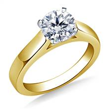 Wide Cathedral Solitaire Engagement Ring with Contoured Profile in 18K Yellow Gold(3.2 mm) | B2C Jewels