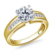Wide Channel Set Round Diamond Engagement Ring in 14K Yellow Gold (1/5 cttw.) | B2C Jewels