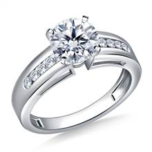 Wide Channel Set Round Diamond Engagement Ring in 18K White Gold (1/5 cttw.) | B2C Jewels