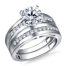 Wide Channel Set Round Diamond Ring with Matching Band in 14K White Gold (1/2 cttw.) | B2C Jewels