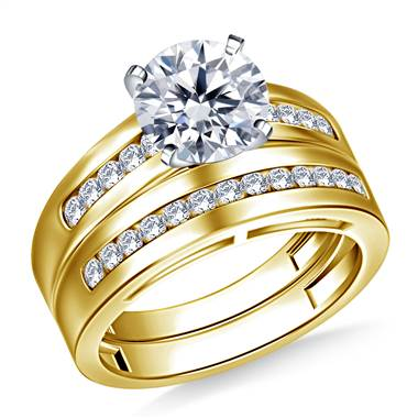 Wide Channel Set Round Diamond Ring with Matching Band in 14K Yellow Gold (1/2 cttw.)