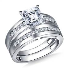 Wide Channel Set Round Diamond Ring with Matching Band in 18K White Gold (1/2 cttw.) | B2C Jewels