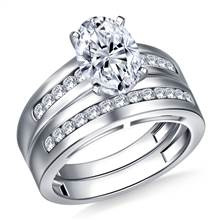 Wide Channel Set Round Diamond Ring with Matching Band in Platinum (1/2 cttw.) | B2C Jewels