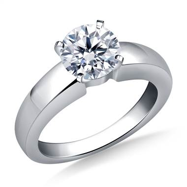 Wide Shank Solitaire Diamond Engagement Ring in 14K White Gold (4.0 mm)