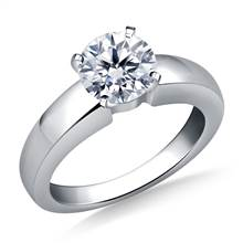 Wide Shank Solitaire Diamond Engagement Ring in 18K White Gold (4.0 mm) | B2C Jewels