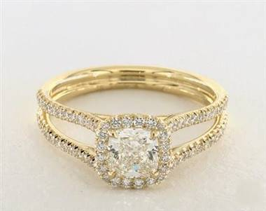 Wide Split Shank Halo Engagement Ring in 2.4mm 18K Yellow Gold (Setting Price)