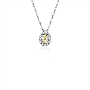 Yellow Diamond Pear-Cut Halo Pendant in 18k White and Yellow Gold (1/3 ct. tw.)