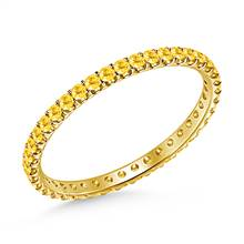Yellow Sapphire Gemstone Comfort Fit Eternity Band in 14K Yellow Gold | B2C Jewels