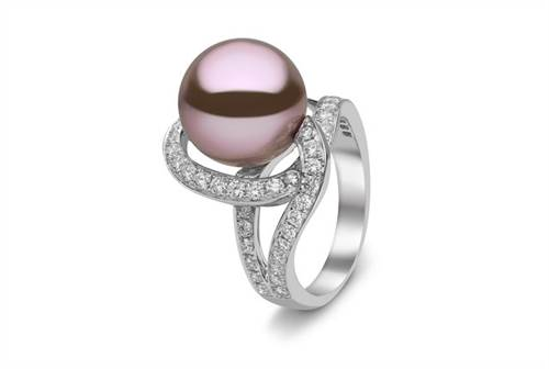 Yoko London for Ritani Freshwater Pearl Ring - in 18kt White Gold - (1.08 CTW)