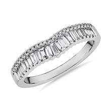 ZAC Zac Posen Baguette & Pave Diamond Crown Curved Wedding Ring in 14k White Gold (3/8 ct. tw.) | Blue Nile