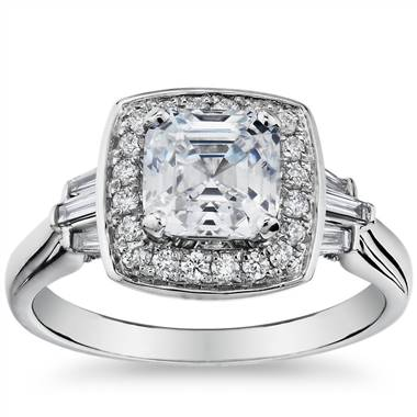 ZAC Zac Posen Square Halo Diamond Engagement Ring in 14k White Gold