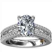 ZAC Zac Posen Three Row Baguette and Round Diamond Engagement Ring in 14k White Gold (5/8 ct. tw.) | Blue Nile