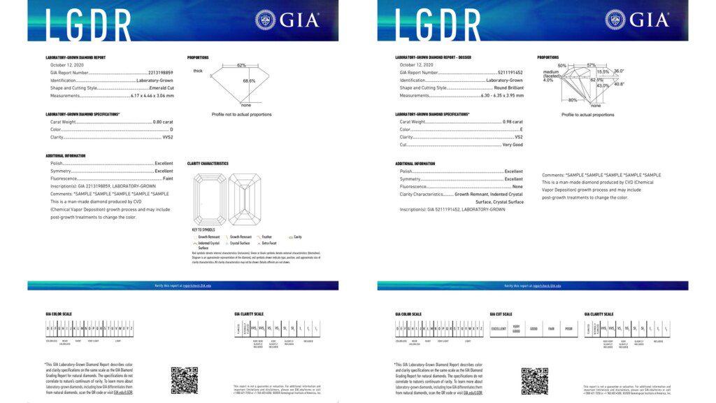 diamond certification - GIA Laboratory Grown Diamond reports