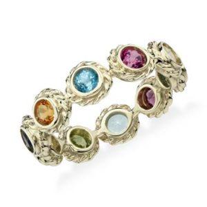 Multi-gemstone eternity confetti ring set in 14K yellow gold at Blue Nile