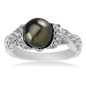 Elegant freshwater cultured black pearl ring with diamonds set in 14K white gold at B2C Jewels