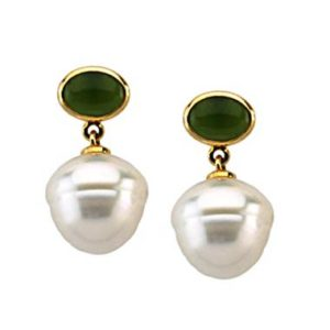 Mix two trends in one by wearing these south sea cultured pearl and genuine jade earrings set in 14K yellow gold at B2C Jewels