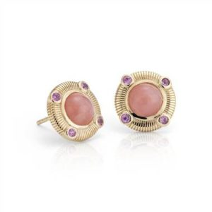 Frances Gadbois pink opal and pink sapphire stud earrings set in 14K yellow gold at Blue Nile(