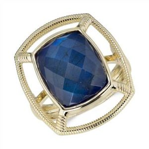 Frances Gadbois laboradorite and lapis doublet strie cocktail ring set in 14K yellow gold at Blue Nile