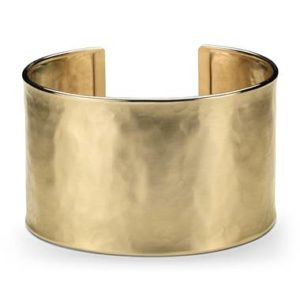Wide hammered cuff bracelet set in 14K yellow gold at Blue Nile