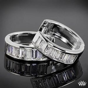 Channel set baguette diamond hoop earrings set in 18K white gold at Whiteflash
