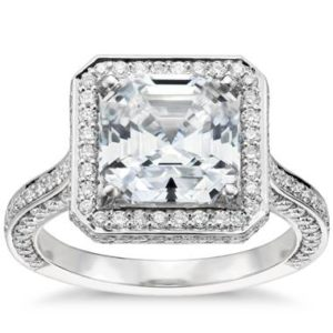 Asscher cut royal Halo diamond engagement ring set in platinum at Blue Nile