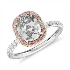 Fancy light grey-green cushion-cut halo diamond ring set in platinum an 18K rose gold at Blue Nile