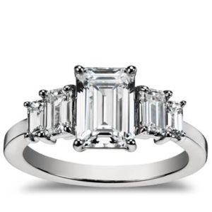 Four stone emerald diamond engagement ring set in platinum at Blue Nile