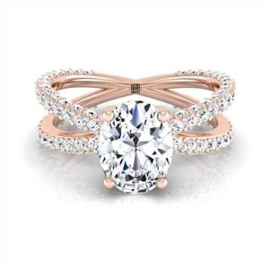 Oval diamond engagement ring with crossover pave shank set in 14K rose gold at RockHer