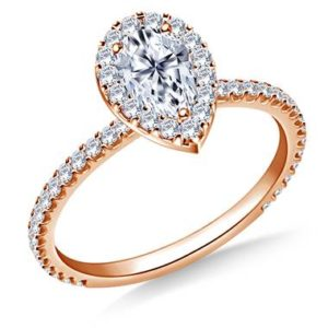 Pear shaped diamond halo engagement ring set in 14K rose gold at B2C Jewels