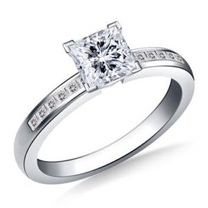 Princess cut diamond channel set engagement ring set in 14K white gold at B2C Jewels