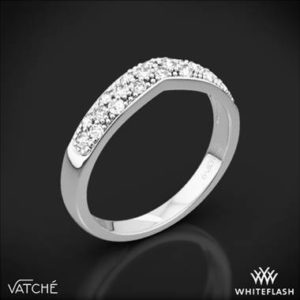 Vatche 213 contoured pave diamond wedding ring set in 18K white gold at Whiteflash