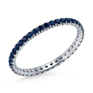 Blue sapphire gemstone comfort fit eternity band set in platinum at B2C Jewels