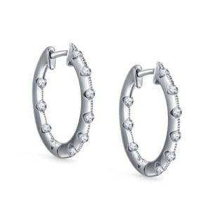Diamond inside out hoop earrings set in 14K white gold at B2C Jewels