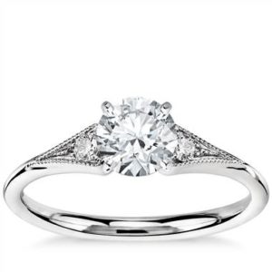 Heirloom petite milgrain engagement ring set in 14K white gold at Blue Nile