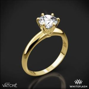 Vatche six prong solitaire engagement ring set in 18K yellow gold at Whiteflash