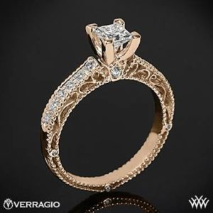 Verragio scrolled pave diamond engagement ring set in 20K rose gold at Whiteflash