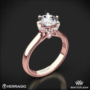 Verragio classic solitaire engagement ring set in 20K rose gold at Whiteflash