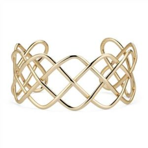Wide braided cuff set in 14K yellow gold at Blue Nile