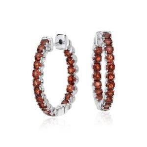 Garnet hoop earrings set in sterling silver at Blue Nile