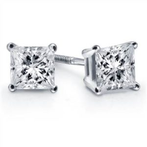 Soulmate Pairing: Prong set princess diamond stud earrings set in 18K white gold at B2C Jewels