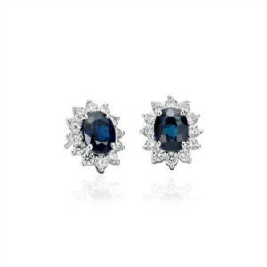 Sapphire and diamond earrings set in 18K white gold at Blue Nile