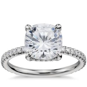 French pave crown diamond engagement ring set in platinum at Blue Nile