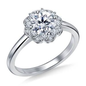 Floral halo petite diamond engagement ring set in 14K white gold at B2C Jewels