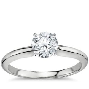Classic six-prong solitaire engagement ring set in 18K white gold at Blue Nile