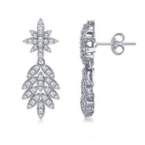 Grab the dangling drop leaf diamond earrings set in 14K white gold from B2C Jewels
