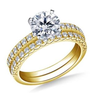 Petite prong set diamond ring with matching band set in 14K yellow gold at B2C Jewels